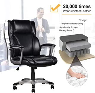 High-Back Executive Leather Office Chair Home Computer Chair with Memory Foam & Adjustable Lumbar for Females Males, Office Home Use (Black)