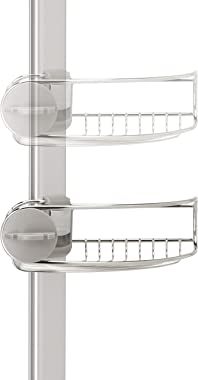 simplehuman 9' Tension Pole Shower Caddy, 9 Feet, Stainless Steel and Anodized Aluminum