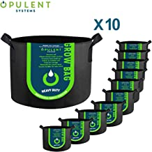 OPULENT SYSTEMS 10-Pack 10 Gallon Grow Bags Heavy Duty Thickened Nonwoven Fabric Containers for Potato/Plant Growing Pots with Handles (Black)