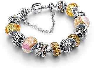 Silver Bracelets For Women Blue Crystal Beads Bracelet Female Pulseras Mujer Sbr160158 Yellow