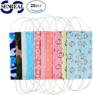 20 Pcs Surgical Mask SENREAL Disposable Face Mask Cute Print Flu Mask 3 Layers Earloop Mouth Mask Half Face Windproof Mask Anti-dust Cotton Face Mask for Men and Women
