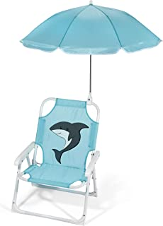 Heritage Kids Outdoor Beach Chair for Kids with Clip on Umbrella, Aqua Shark