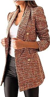 MFFACAI Women's Fashion Double Breasted Blazer Parka Casual Long Sleeve Lapel Blazer Windbreaker Elegant Solid Color Busin...