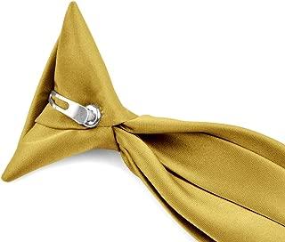 Moda Di Raza - Boy's NeckTie Solid Clip on Polyester Tie - Boys' Kids' Children's Solid Color Boys Formal Wear Pre-Tied Polyester Clip Necktie - Honey Gold/8