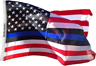 Blue Lives Matter USA American Police Flags- Honor Law Enforcement Officers (Leo) -Non-Fade Polyester with Grommets - Visible Stars and Striking Colors - for Flag Poles/Indoors/Outdoor Lawns (3x5)