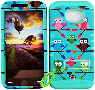 Cellphone Trendz Dual Layer Soft Hard Hybrid High Impact Protective Case Cover for Samsung Galaxy S6 G920 - Multi Owl On Branch Design Hard Case on Mint Blue Skin
