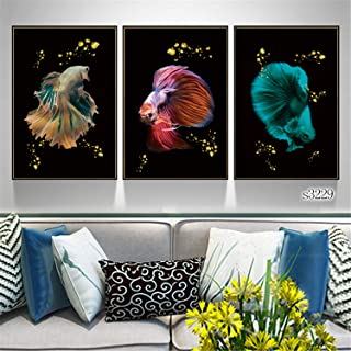Wall Art Modern Painting Simple Nordic Style Fish Poster Canvas 3 Pieces Art Gift Home Print Decoration Framed Picture for...