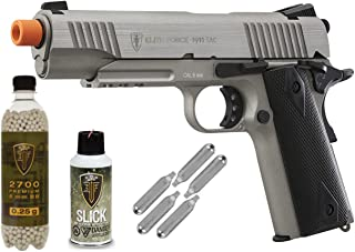 Elite Force 1911 TAC Full Metal CO2 Blow Back Airsoft Pistol (Stainless) - Package Deal
