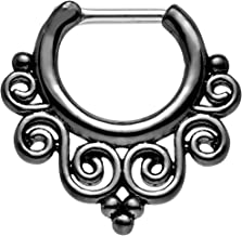 Body Candy Stainless Steel Black IP Swirling Dream Septum Clicker 16 Gauge 1/4