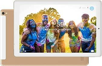 Tablet 10.1 Pulgadas 4G Dual SIM /WiFi Tableta 3GB de RAM 32GB de ROM Android 8.0 Quad-Core Batería 8000mAh Bluetooth/GPS/OTG Tablets(Soporte Netflix,Desbloqueo Facial)-Dorado