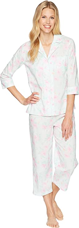 3/4 Sleeve Notch Collar Capris Pajama Set