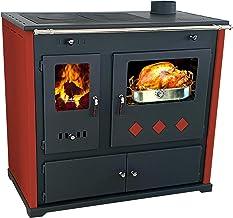 EEK A+ kachel met bakvak en kookplaat Practik Lux rood houtkachel 9,5 kW open haard oven permanente kachel workshop kachel...