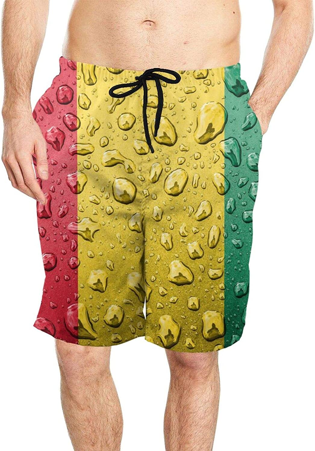 DASMUS Guinean Flag with Rain Droplets Men Quick Dry Beach Board Shorts Swim Trunks with Mesh Lining
