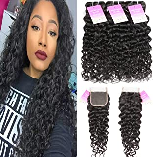 Brazilian Water Wave Bundles with Closure Unprocessed Virgin Human Hair Bundles with Closure Curly Hair Wet and Wavy Bundles with Closure (10 12 14 with 10, Natural Color)