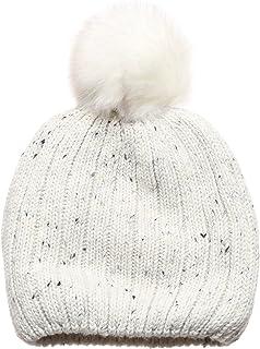 MIRMARU Women's Premium Wool Blend Faux Pom Pom Beanie Hat with Plush Lining.