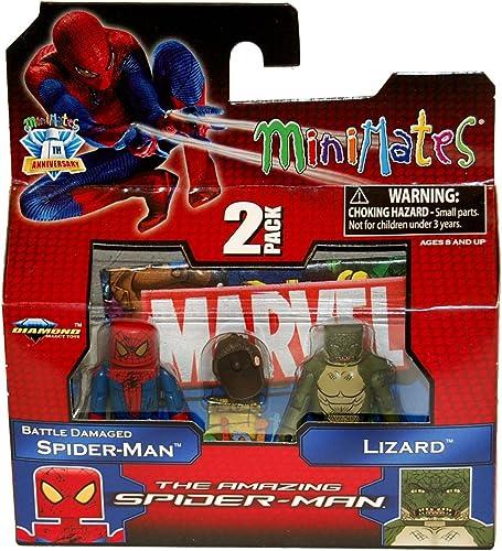 punto de venta de la marca Art Asylum Marvel Minimates Amazing Spiderman Movie Series Series Series 46 Battle Damaged Spiderman Lizard (accesorio de disfraz)  ventas en línea de venta
