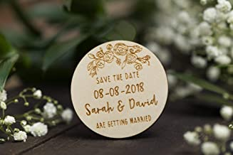 50Pcs Round Wooden Wedding Magnets, Custom Save The Date Magnet, Flower Save The Date, Engraved Wooden Magnets, Personalized Names Wedding Innovation, We Are Getting Married