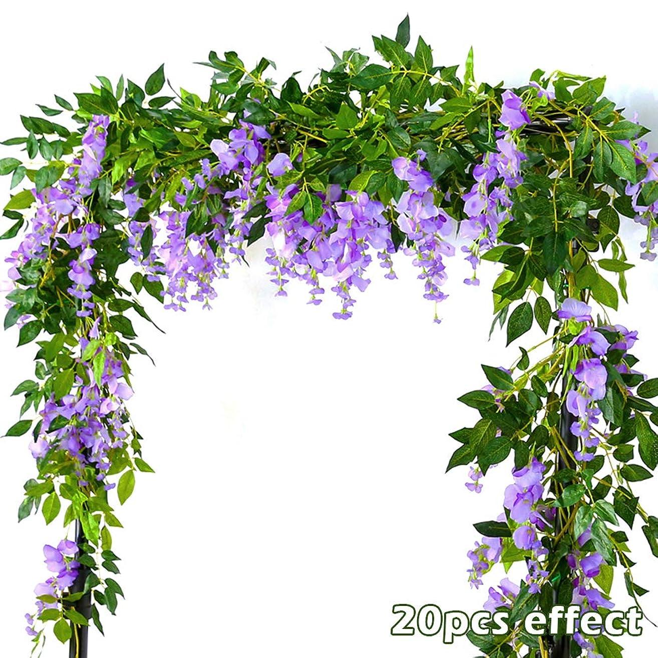 欠かせない湿気の多い大人2本入り 造花 藤の花 シルク アイビーのつる 緑の葉 つり下げ人工観葉植物 花飾り ウェディングパーティー ホームガーデン 壁装飾 ホワイト(紫色)