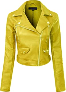 Instar Mode Women's Long Sleeve Zipper Closure Moto Biker Faux Leather Jacket
