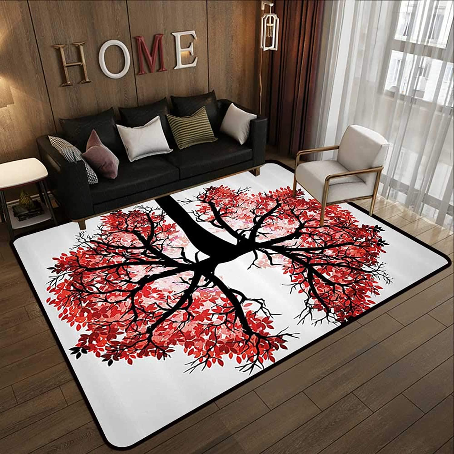 Carpet mat,Modern,Eco Environment Themed Human Lung Shaped Floral Tree Healthy Lifestyle Nature Print,Red Brown 47 x 59  Floor Mat Entrance Doormat