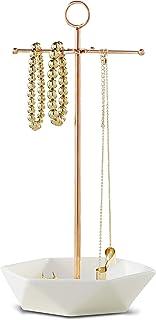 گردنبند و جواهر سازمانی لورا اشلی و دارنده گوشواره برای زنان ، جلا جبهه فلزی جبهه طلایی رز فاکس با رز برجسته با ظروف سینی شش گوش ، ظرف های حلقوی و حلقه ها