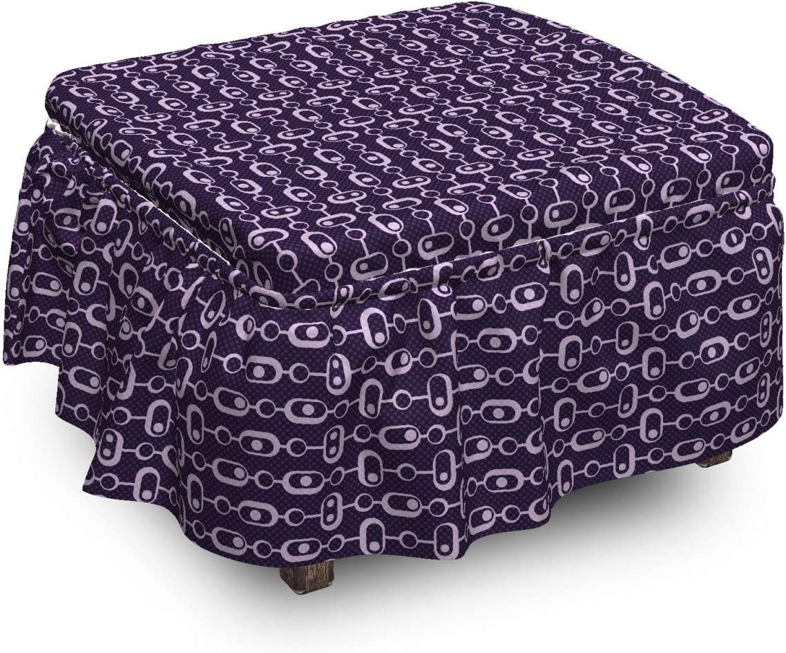 sale Lunarable Geometric Ottoman Cover Retro 2 Piec Dots Shapes Reservation and