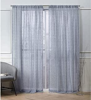 Nicole Miller Belfry Sheer Rod Pocket Top Curtain Panel, Denim, 50x96, 2 Piece