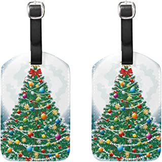 MASSIKOA Christmas Tree in The Moon Cruise Luggage Tags Suitcase Labels Bag,2 Pack