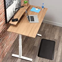 SmartMoves by Howard Miller Dual Motor Electric Adjustable Height Desk with Classic Desktop and Classic Elevated Shelf (Almond Cherry Desktop/Crystal White Base, 48 in Width)