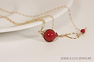 Gold Red Coral Necklace with Swarovski Pearl Wire Wrapped Yellow or Rose Gold Filled