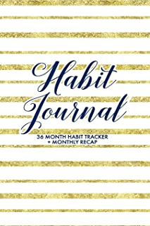 Habit Journal: Custom 36 Monthly Habit Tracker + Monthly Recaps to Track Your Progress, Gold Foil and White Stripes