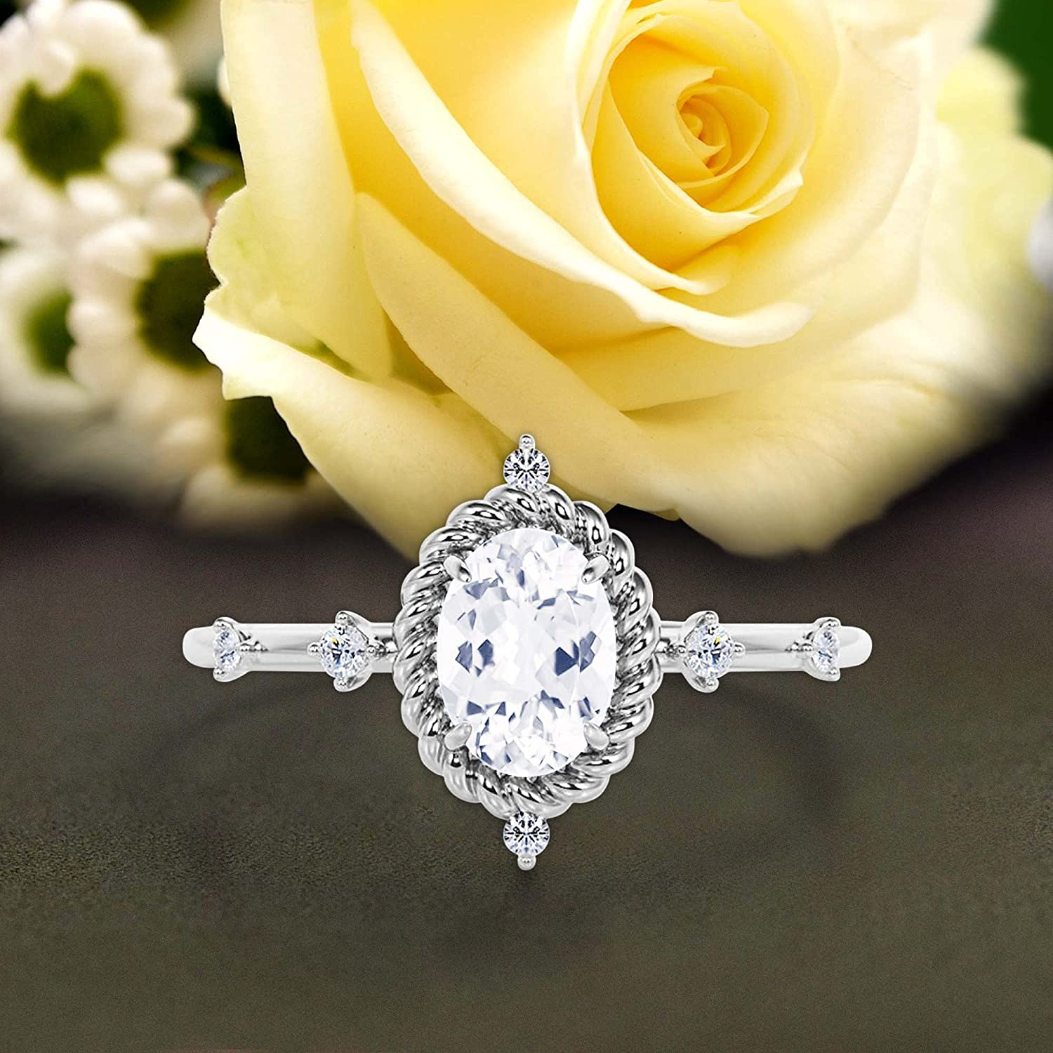 Dazzling Art SEAL limited product nouvea 1.50 Carat Diamond Cut Oval Engag Moissanite Max 90% OFF