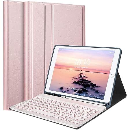Upworld Funda con Teclado para iPad 7 / 8th Gen con retroiluminación, Funda de Piel Teclado Bluetooth de diseño Estadounidense para iPad 10,2