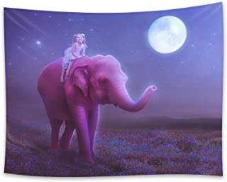 TDYNASTY DESIGN Elephant Tapestry Wall Hangings Night Moon Psychedelic Purple Background Fantasy Trippy Large tablecloths Wall Tapestry for Bedroom Living Room Dorm (78.8' x 60')