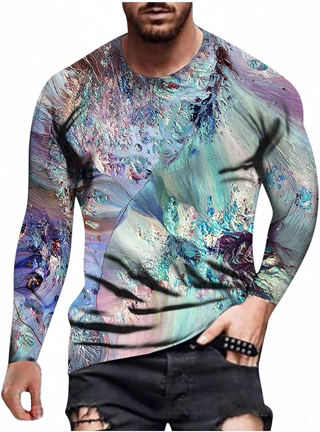 Aayomet Long Sleeve Tee Shirts for Men 3D Painting Abstract Printed Tee Casual Round Neck Men's T Shirts Tops
