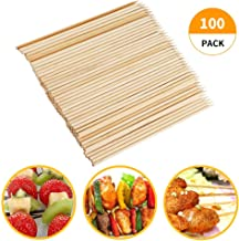 Fu Store Bamboo Skewers, 8 Inch Bamboo Sticks Shish Kabob Skewers,Grill, Appetizer, Fruit, Corn, Chocolate Fountain, Cocktail,Set of 100 Pack,with Free 10 Pairs of Gloves