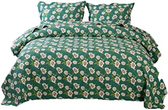 Green Embossed Quilted Bedspread Handmade Patchwork Quilt Set Hypoallergenic Lightweight Reversible Coverlet 3 Pieces Bed ...