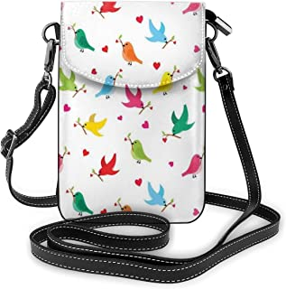 Jiger Women Small Cell Phone Purse Crossbody,Pattern With Flying Birds Carrying Heart Branches Love Valentines Day Inspire...
