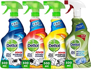 Dettol Trigger Domain Bundle - Pack of 4 - Bathroom Cleaner, Kitchen Trigger, Lemon All Purpose Cleaner, and Mold & Mildew...