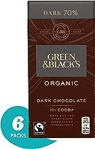 Green & Black's Organic 70% Dark Chocolate Candy Bars, 3.5 Ounce (Pack of 6)
