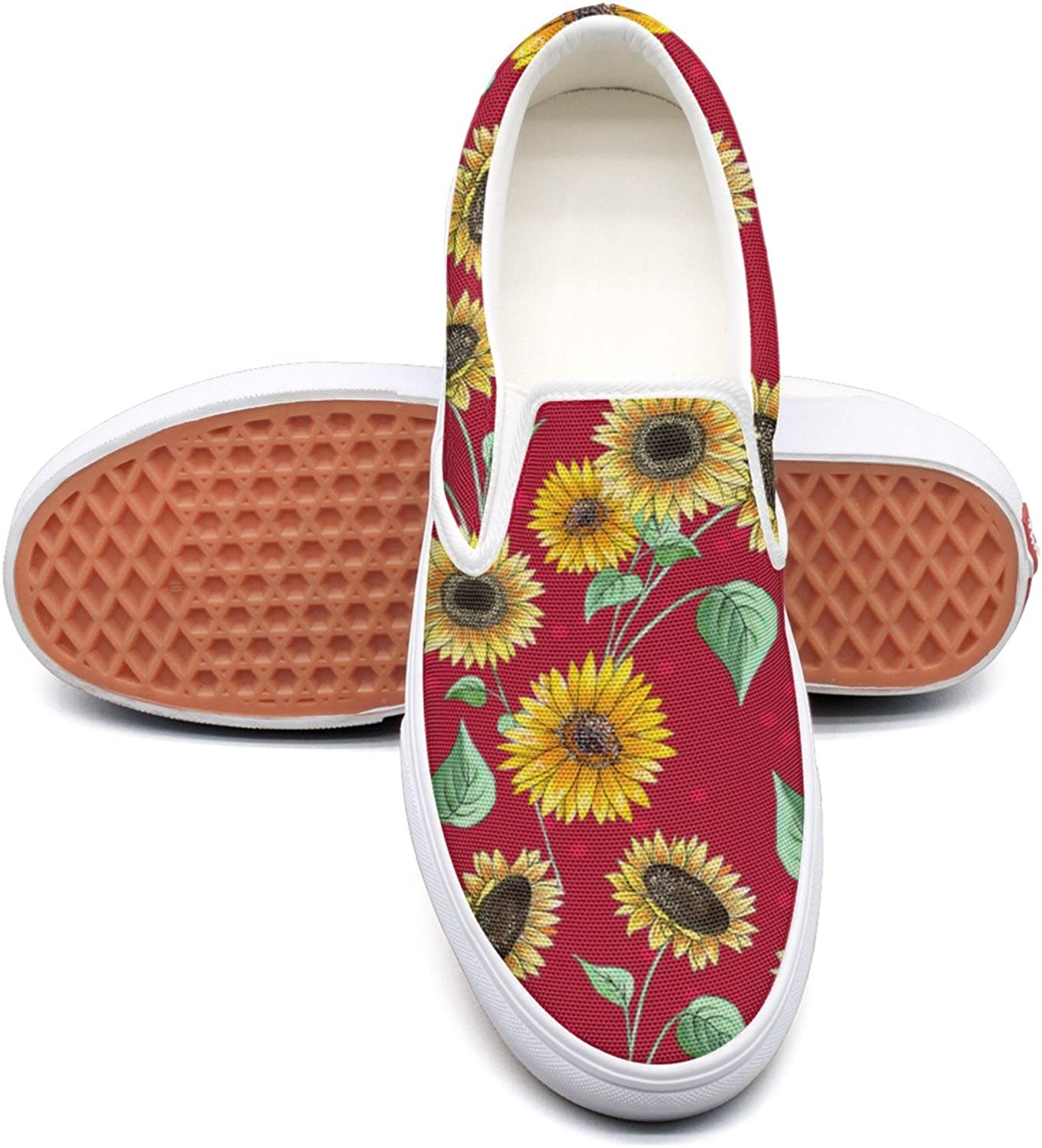 Hjkggd fgfds Casual Sunflower Repeat Red1 Women Canvas shoes