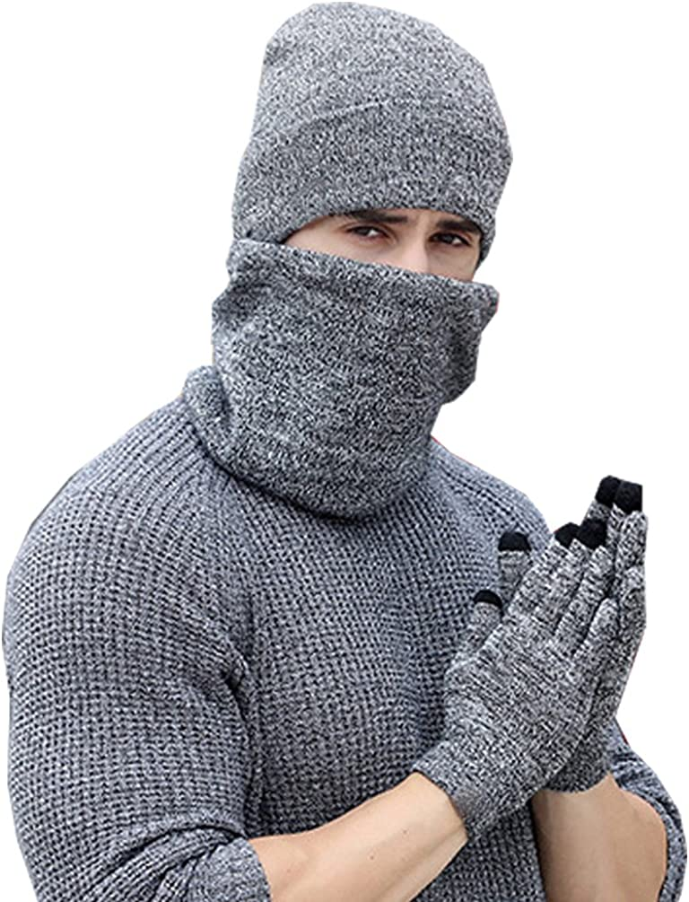 Mens Winter Hat Beanie Scarf Gloves Set Fleece Lining Cap Texting Mittens
