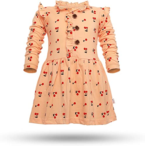 Girl s Cotton Cherry Printed Frock