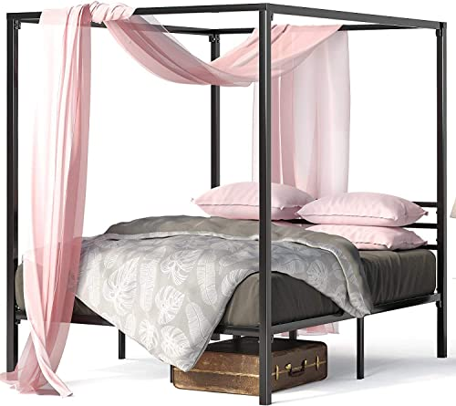 Zinus Patricia Double Bed Frame - Black Canopy Four Poster Bed with Metal Slats