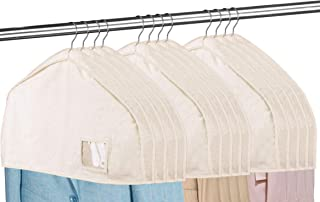 """MISSLO Cotton Shoulder Covers for Clothes Hanging Breathable Garment Bag Clothing Dust Protector Closet Storage with 2"""" Gu..."""
