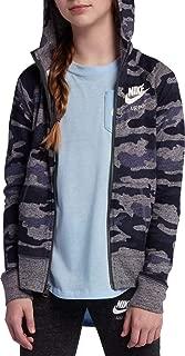 Nike Girl's Vintage Full-Zip Camo Hoodie (Thunder Blue, X-Small)