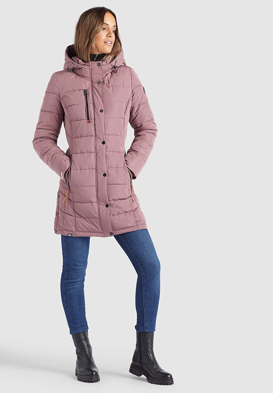 khujo Damen Mantel DELINAS Steppjacke einfarbig Kapuzenfutter Fleecefutter Gehschlitze Beige-rosa