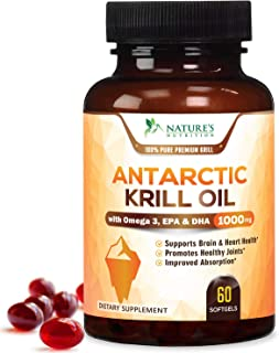 Antarctic Krill Oil Supplement 1000mg Purity Tested Krill with Omega 3, Epa, Dha and Astaxanthin - Made in ...