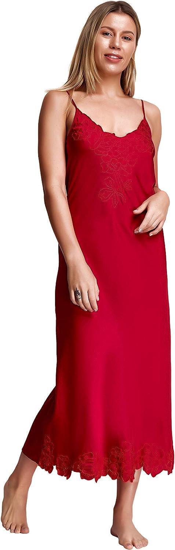 Soidée Rosy Maxi Bordeaux gestickte Nightgown für Frauen, Größe 62