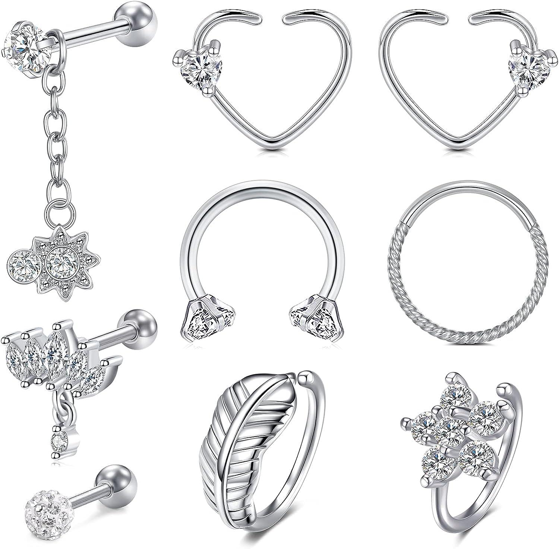 NIUSIMAN Tragus Earrings 9-16Pcs Stainless Steel Helix Cartilage Earrings Horseshoe Barbell CBR Double Piercings Earring Stud Chain Piercing Jewelry Set